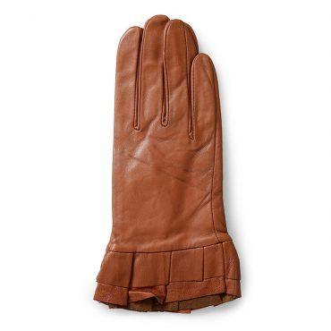 Găng tay da nữ xếp ly cổ tay màu nâu GT600-05-N