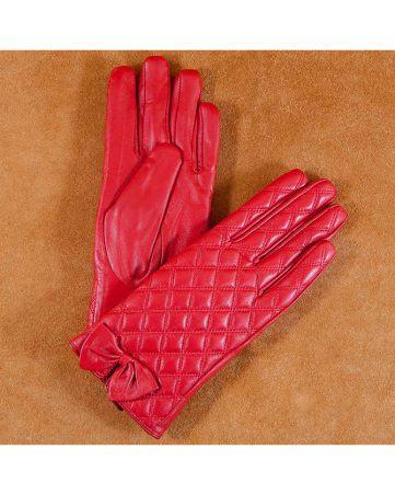 Găng tay da nữ họa tiết kẻ ô đính nơ màu đỏ GT600-01L-DO