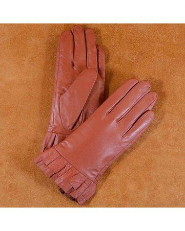 Găng tay da nữ xếp ly cổ tay màu nâu GT600-05L-N