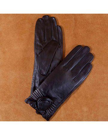 Găng tay da nữ đính hoa màu đen GT600-06L-D