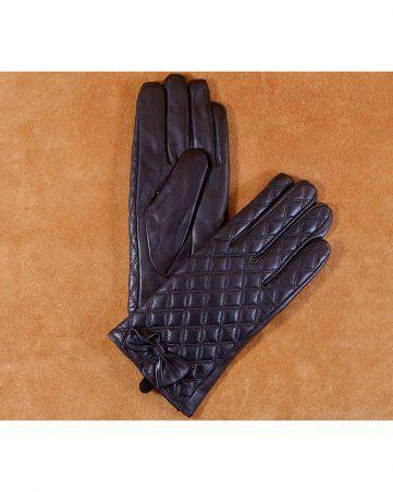 Găng tay nữ cảm ứng họa tiết kẻ ô đính nơ màu đen GT800-01L-D