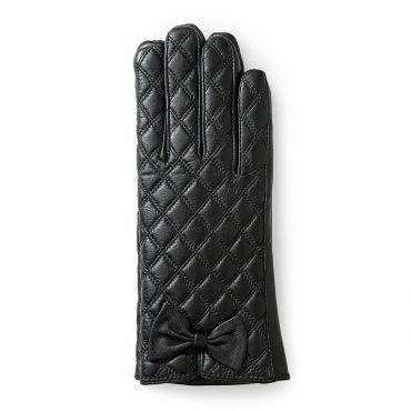 Găng tay nữ cảm ứng họa tiết kẻ ô đính nơ màu đen GT800-01-D