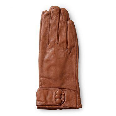 Găng tay nữ đai da đính khuy bấm màu nâu GT600-04-N