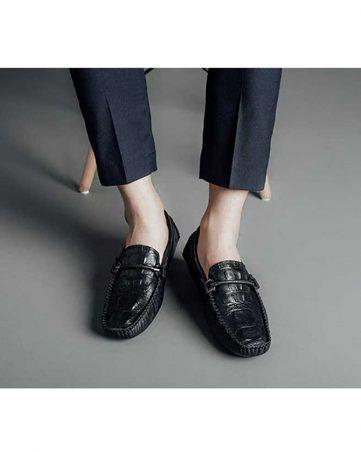 Giày lười nam vân da cá sấu GNLACS3105-1-D