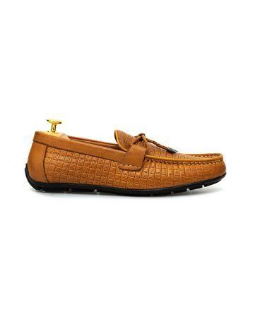 Giày lười nam công sở họa tiết kẻ ô đục lỗ GNLA869-3-V