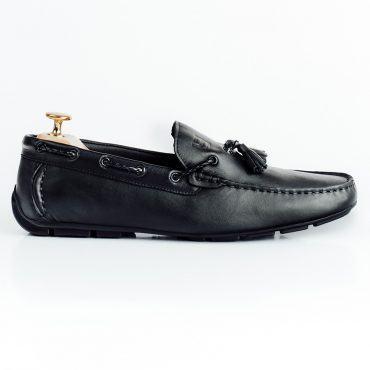 Giày lười nam hàng hiệu da trơn dây tết thắt chuông GNLA6567-D