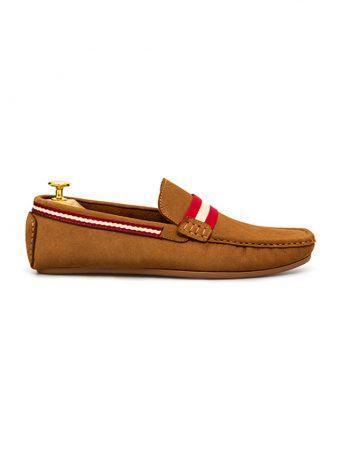 Giày lười cao cấp viền đỏ trắng GNLA20375-6-V