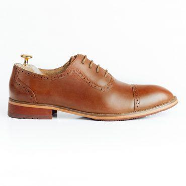 Giày da oxford brogue mũi tròn loang GNLA3368-N