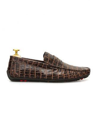 Giày lười đai ngang vân cá sấu GNLA55298-2-CF