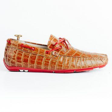 Giày nam giả vân da cá sấu viền xỏ dây GNLA55298-3-N