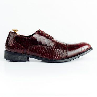 Giày tây nam da vân cá sấu màu nâu đỏ GNLABC001-NDO