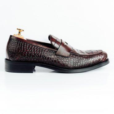 Giày lười da nam dập vân cá sấu GNLAB1618-261-N