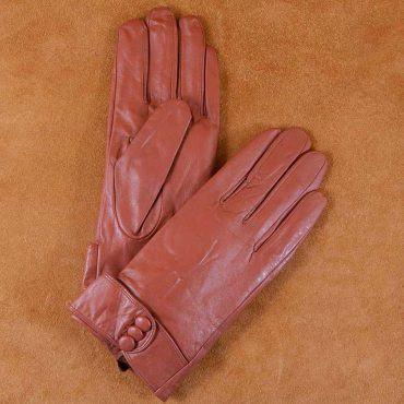 Găng tay nữ đai da đính khuy bấm màu nâu GT600-04L-N