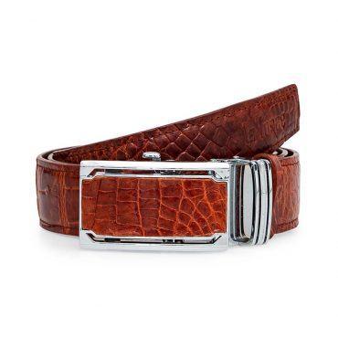 Thắt lưng da cá sấu màu nâu đỏ DLA1200-BC-NDO