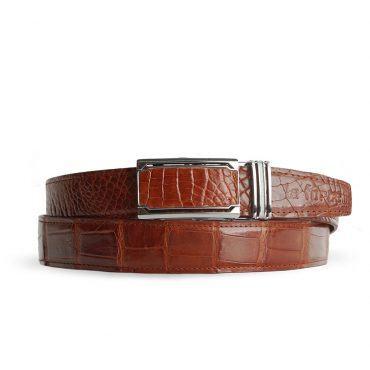 Thắt lưng da cá sấu màu nâu đỏ DLA1200-04B-B-ND