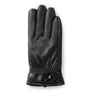 Găng tay da nữ cảm ứng đính nơ GTLACUNU-09-D
