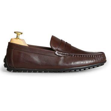 Giày lười nam da trơn màu nâu GNLAYS5123-6-CF
