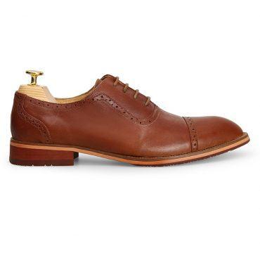 Giày da Oxford Brogue mũi tròn GNLA3368-N