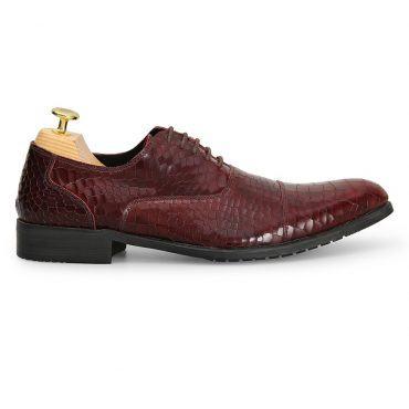 Giày da nam vân da rắn nâu đỏ GNLABC001-NDO