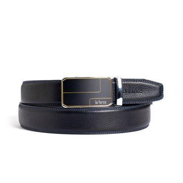 Thắt lưng da bò nam D590-1163-10B đen trơn