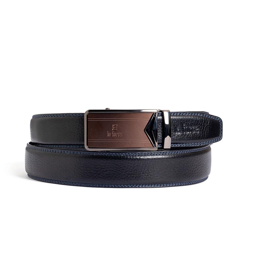 Thắt lưng nam da bò D590-1419-1D đen trơn
